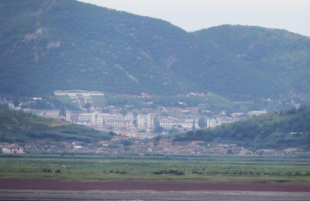 인천 강화군 접경지역에서 바라본 북한