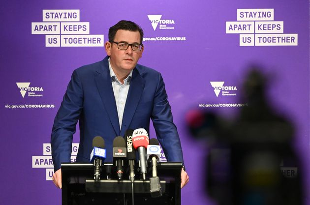 Victorian Premier Daniel Andrews speaks to the media on July 27, 2020 in Melbourne,