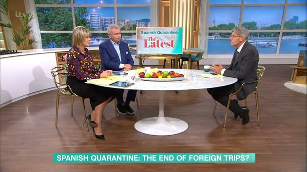 Ruth Langsford and Eamonn Holmes with This Morning travel expert Simon
