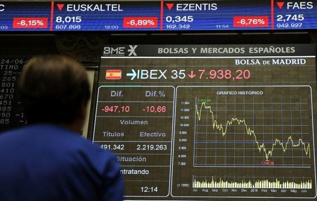 Imagen de la pantalla del IBEX en la Bolsa y mercados españoles, en