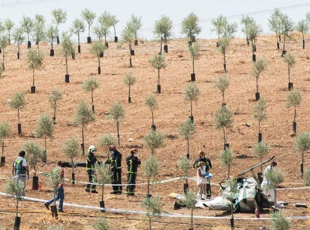 Accidente de un helicóptero en la localidad de Pedrera, en la Sierra Sur de