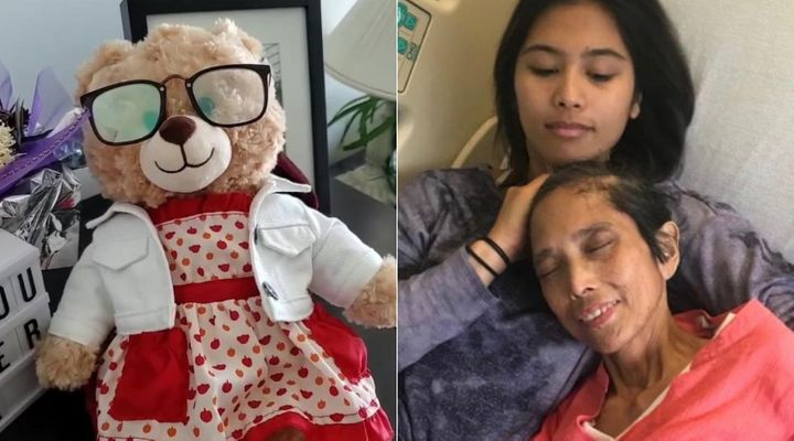A teddy bear belonging to Mara Soriano, who is seen here with her now deceased mother in the image on the right, has reportedly been stolen, prompting Ryan Reynolds andGeorge Stroumboulopoulos to offer $5,000 each for the stuffed animal's return.