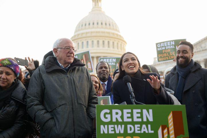 Sen. Bernie Sanders (I-Vt.) and Rep. Alexandria Ocasio-Cortez (D-N.Y.) announce the inclusion of public housing legislation i