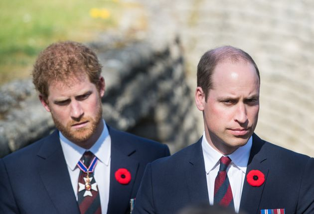William and Harry walk through a trench during the commemorations for the 100th anniversary of the battle...