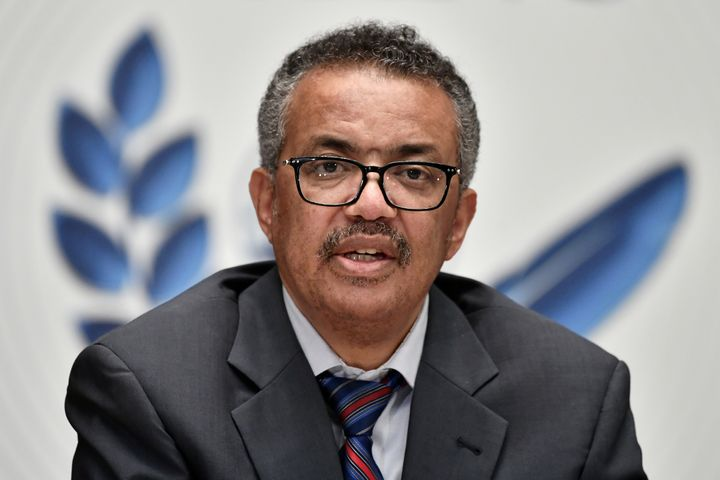 Tedros Adhanom Ghebreyesus, the WHO's director-general, is seen here in Geneva during a news conference on July 3, 2020. He sayspeople must follow strict health guidelines, such as wearing masks and avoiding crowds, to curb the spread of the novel coronavirus.