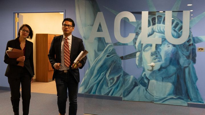 ACLU attorneys Brigitte Amiri (left) and Dale Ho at the organization's headquarters in New York, in a scene from the new docu