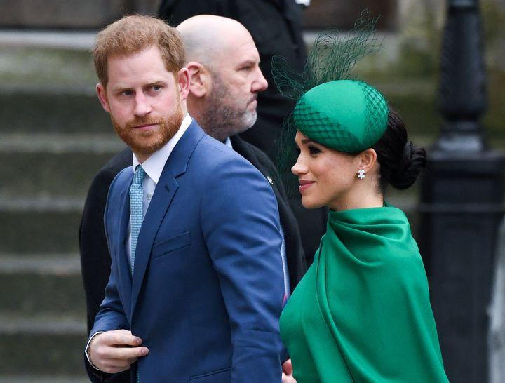Meghan Markle y el príncipe Harry en Reino Unido el Día de la Commonwealth.