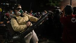 Dads With Leaf Blowers Join Portland Protest's Wall Of