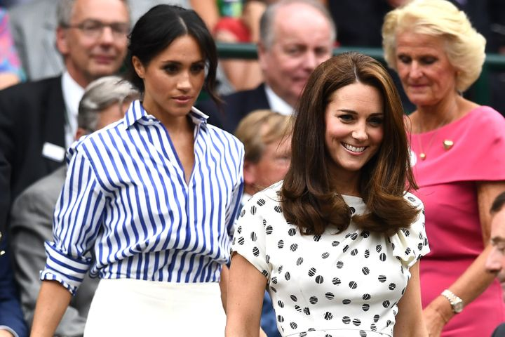 Meghan and Kate attend the Wimbledon Lawn Tennis Championships on July 14, 2018 in London.