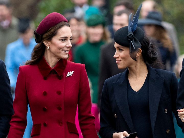 Kate and Meghan attend church on Christmas Day in 2018.