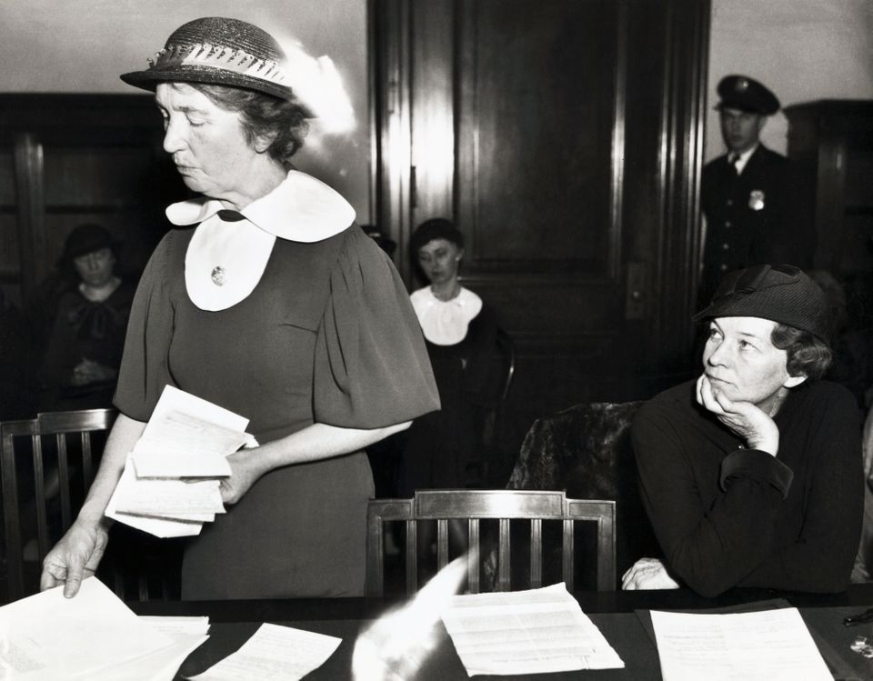 Sanger appearing before a Senate committee in