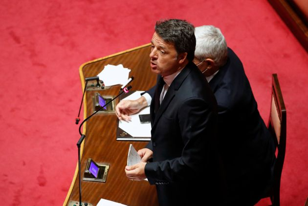 Senator Matteo Renzi in the Senate Hall during the information by the President of the Council of Ministers...