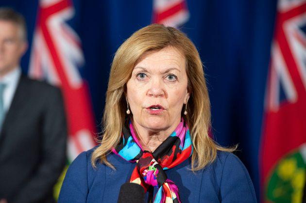 Deputy Premier of Ontario and Ontario Minister of Health Christine Elliott speaks at Queen's Park in...