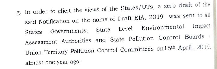 Excerpt from the 'statement of objections' filed by the MoEF&CC in the Karnataka HC. Para 2(g) here lists the environment ministry's consultation with state governments and other state-level environmental bodies about the zero draft of EIA 2019 under a paragraph about 'wide publicity' given to the Draft EIA 2020 notification,