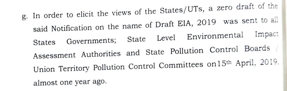 Excerpt from the 'statement of objections' filed by the MoEF&CC in the Karnataka HC. Para 2(g) here...