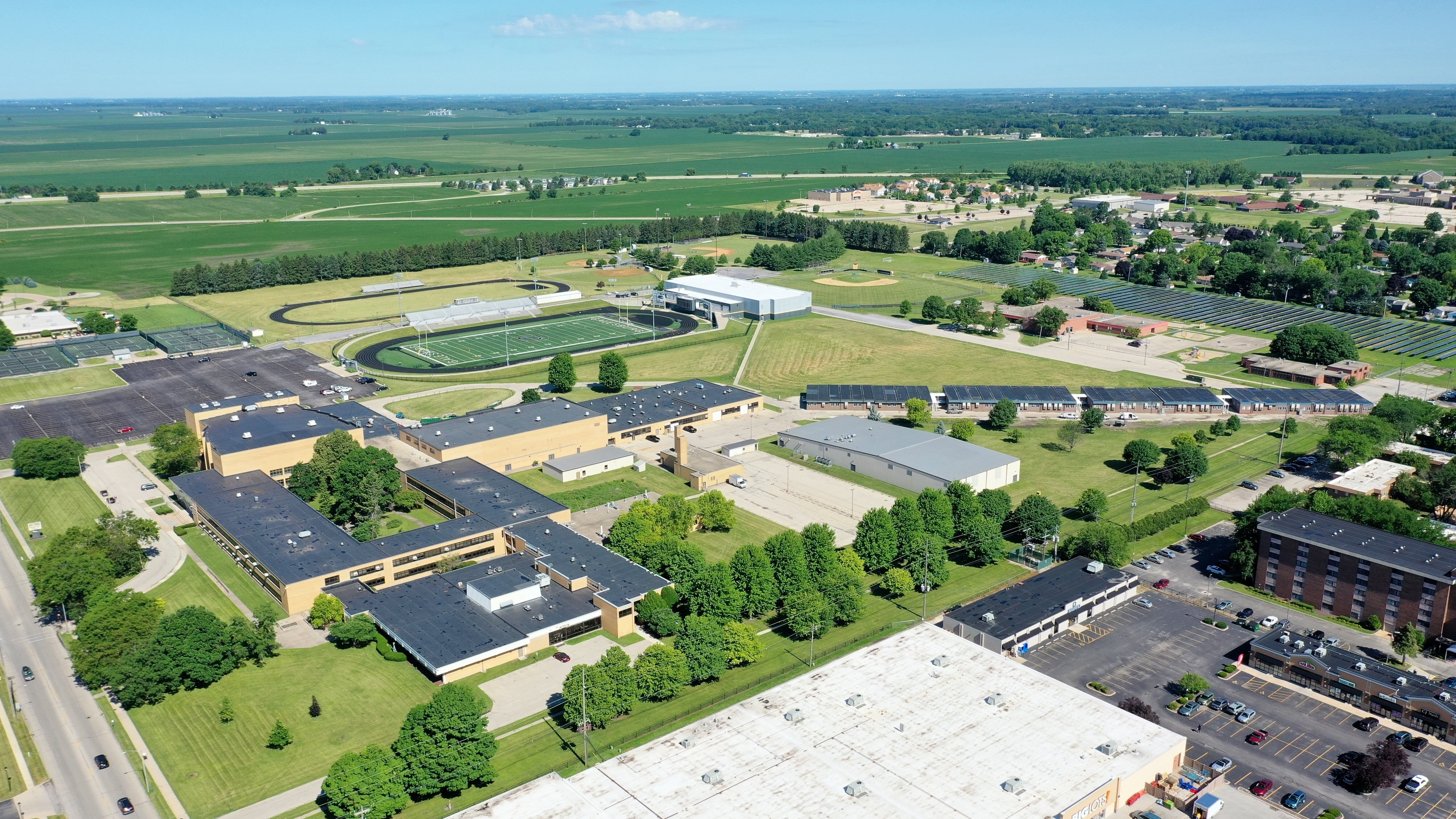 An acre of solar panels in an old soccer practice field will power Galesburg High School.