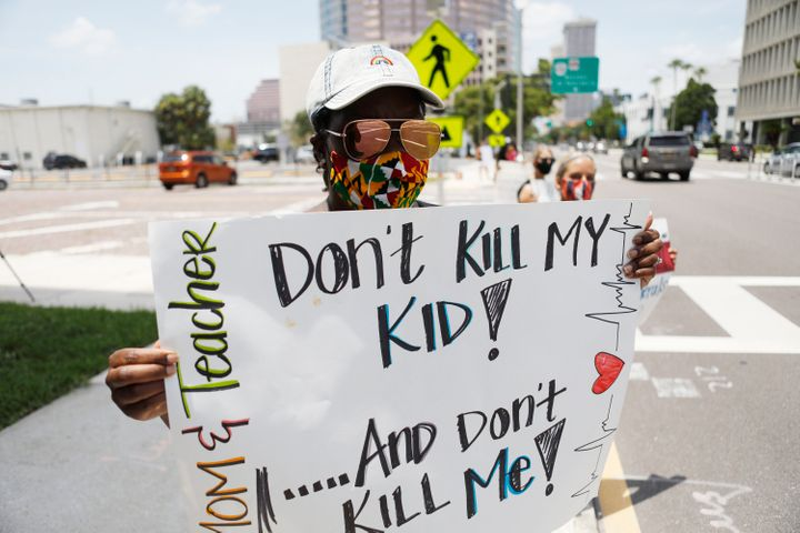 Business education teacher Malikah Armbrister took to the streets in Tampa earlier this month to protest the push for school