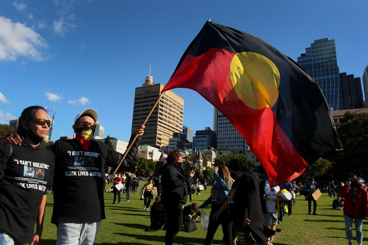 Activists gather in The Domain to rally against Aboriginal and Torres Strait Islander deaths in custody on July 05, 2020 in Sydney, Australia.