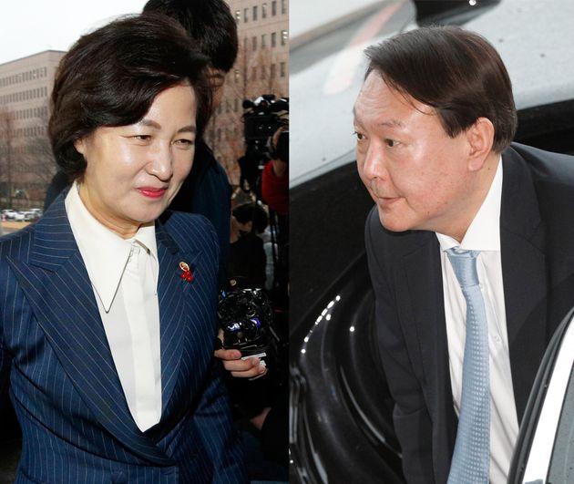 추미애 법무부 장관(좌)과 윤석열 검찰