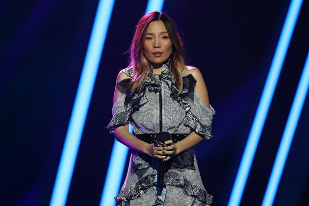 Dami Im performs during Eurovision - Australia Decides at Gold Coast Convention and Exhibition Centre...