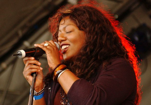 Denise Johnson pictured performing with A Certain Radio at the Big Chill music festival in