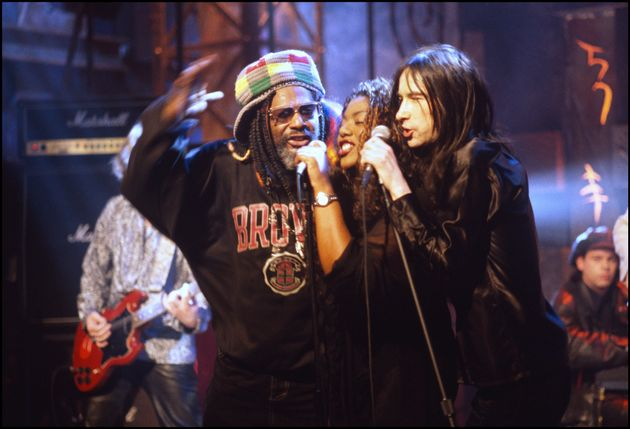 Denise with Bobby Gillespie of Primal Scream and singer George Clinton at NBC TV Studios in New York...