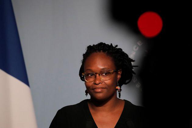 Sibeth Ndiaye lors d'une conférence de presse à l'Élysée