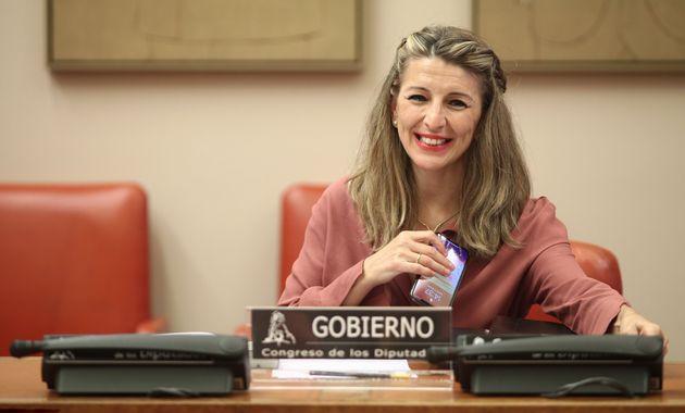 La ministra de Trabajo, Yolanda Díaz, en una comparecencia en el