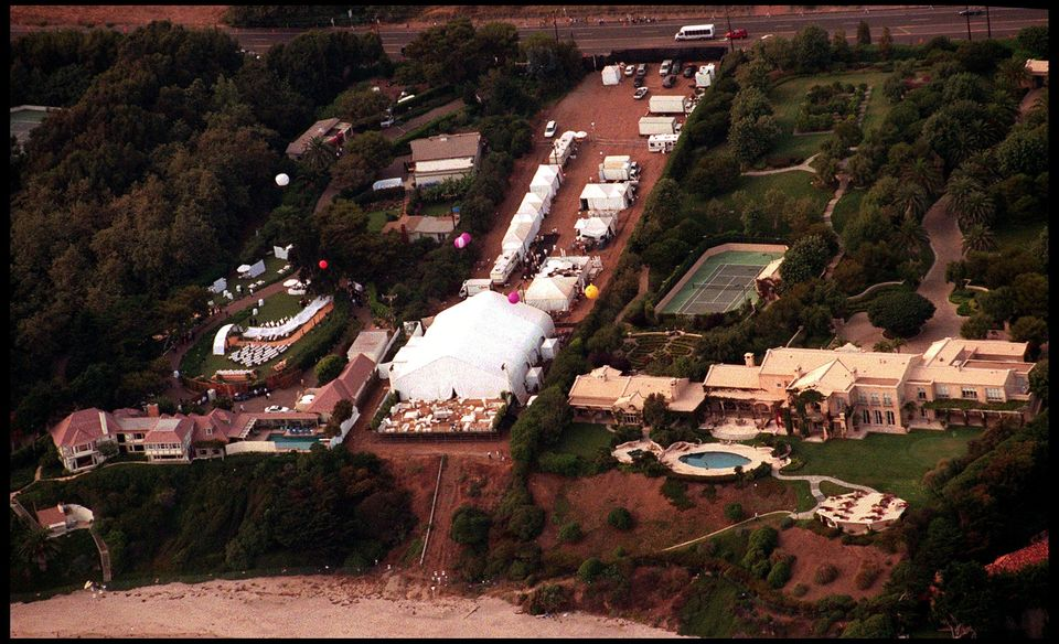 An aerial view of Brad Pitt and Jennifer Aniston's wedding venue in Malibu,