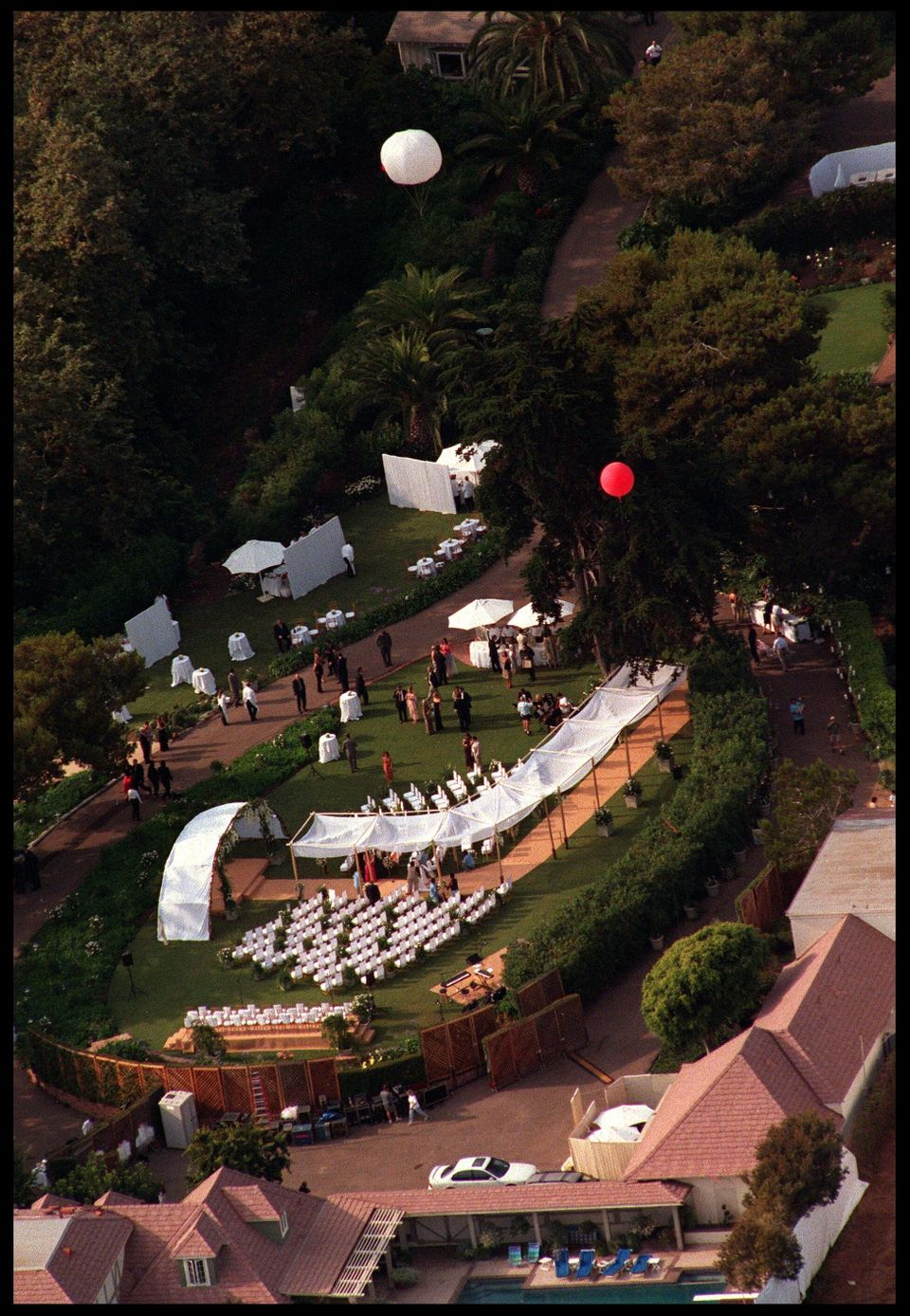 An aerial view of Brad Pitt and Jennifer Aniston's wedding