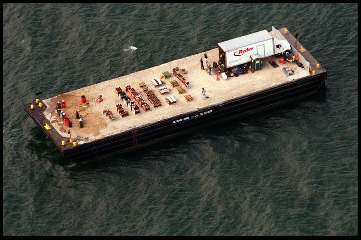 An aerial view of Brad Pitt and Jennifer Aniston's firework barge anchored off their wedding venue
