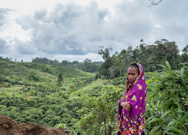 "Marivic ""Tarsila"" Danyan overlooks coffee plantations near her village of Tabasco in the Philippines. Her father protested a"