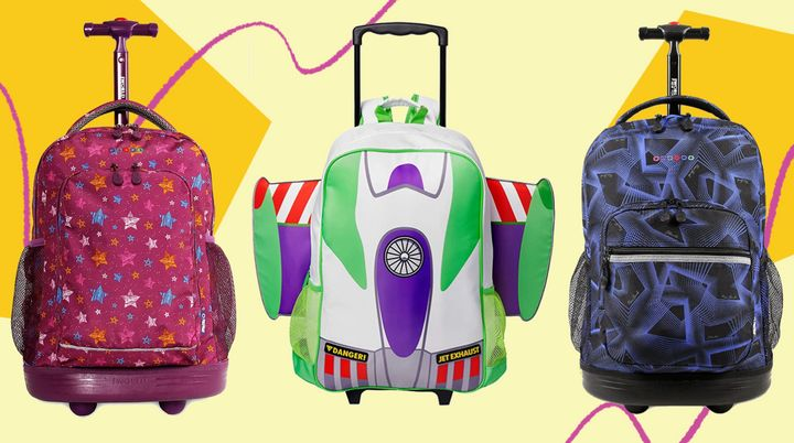 The kiddos will be on a roll with these rolling backpacks you can find on Amazon.