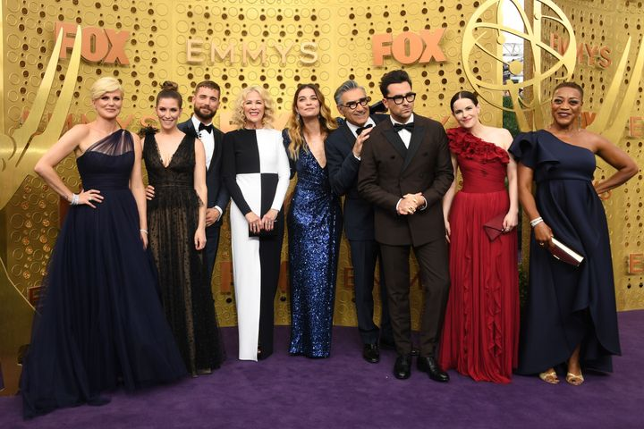 """The cast of """"Schitt's Creek"""" at last year's Emmy Awards in Los Angeles on Sept. 22, 2019."""
