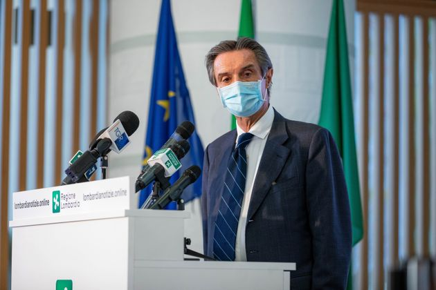 The president of Regione Lombardia Attilio Fontana at the press conference about the evolution of the...