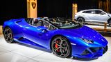 BRUSSELS, BELGIUM - JANUARY 8: Lamborghini Huracan EVO Spyder convertible sports car on display at Brussels Expo on January 8, 2020 in Brussels, Belgium. The Lamborghini Huracan EVO is fitted with a 5.2 V10 and is available as coupe and convertible.  (Photo by Sjoerd van der Wal/Getty Images)