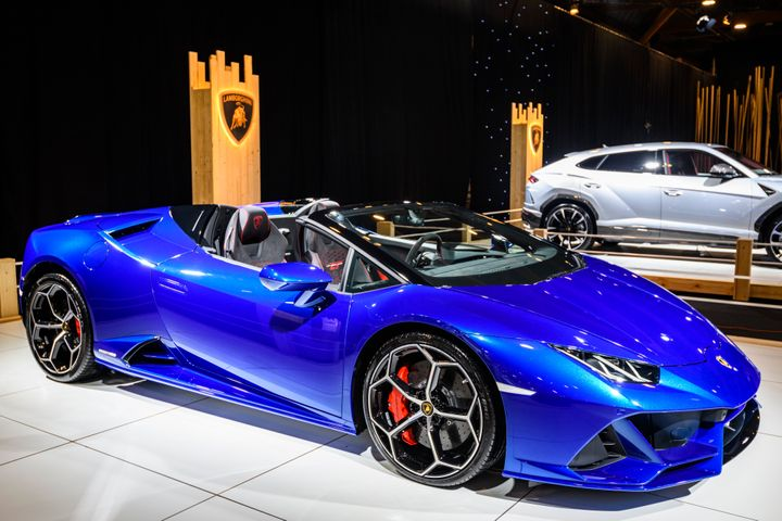A Lamborghini Huracan EVO Spyder convertible sports car is seen on display in Brussels, Belgium, in January.