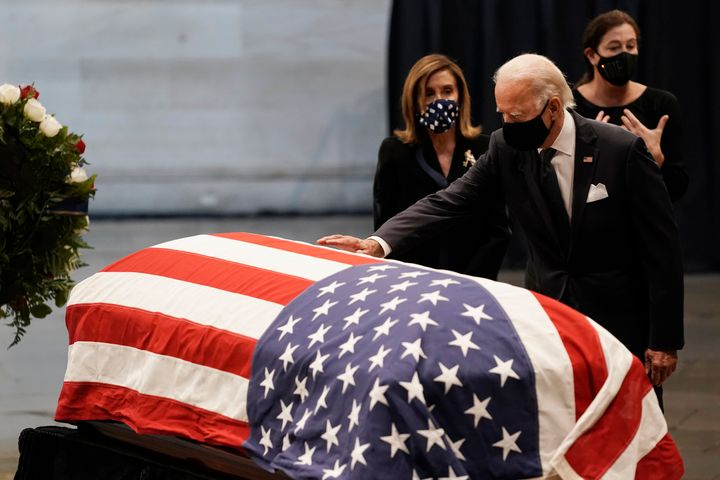 Presumptive Democratic presidential candidate Joe Biden was among the dignitaries paying respects on Monday to Rep. John Lewi