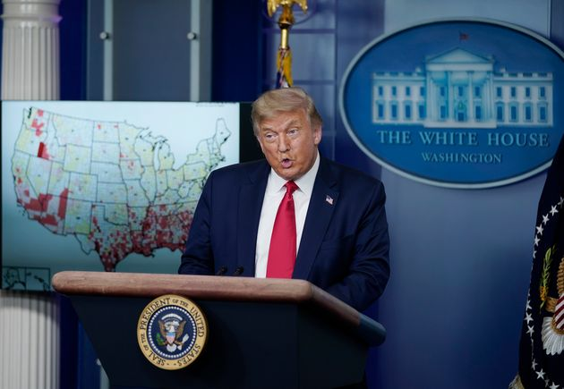 President Donald Trump speaks during a news conference earlier this month about his administration's...