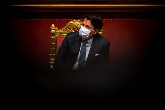 ROME, ITALY - JULY 28: Italian Prime Minister Giuseppe Conte wearing a protective mask attends the debate...
