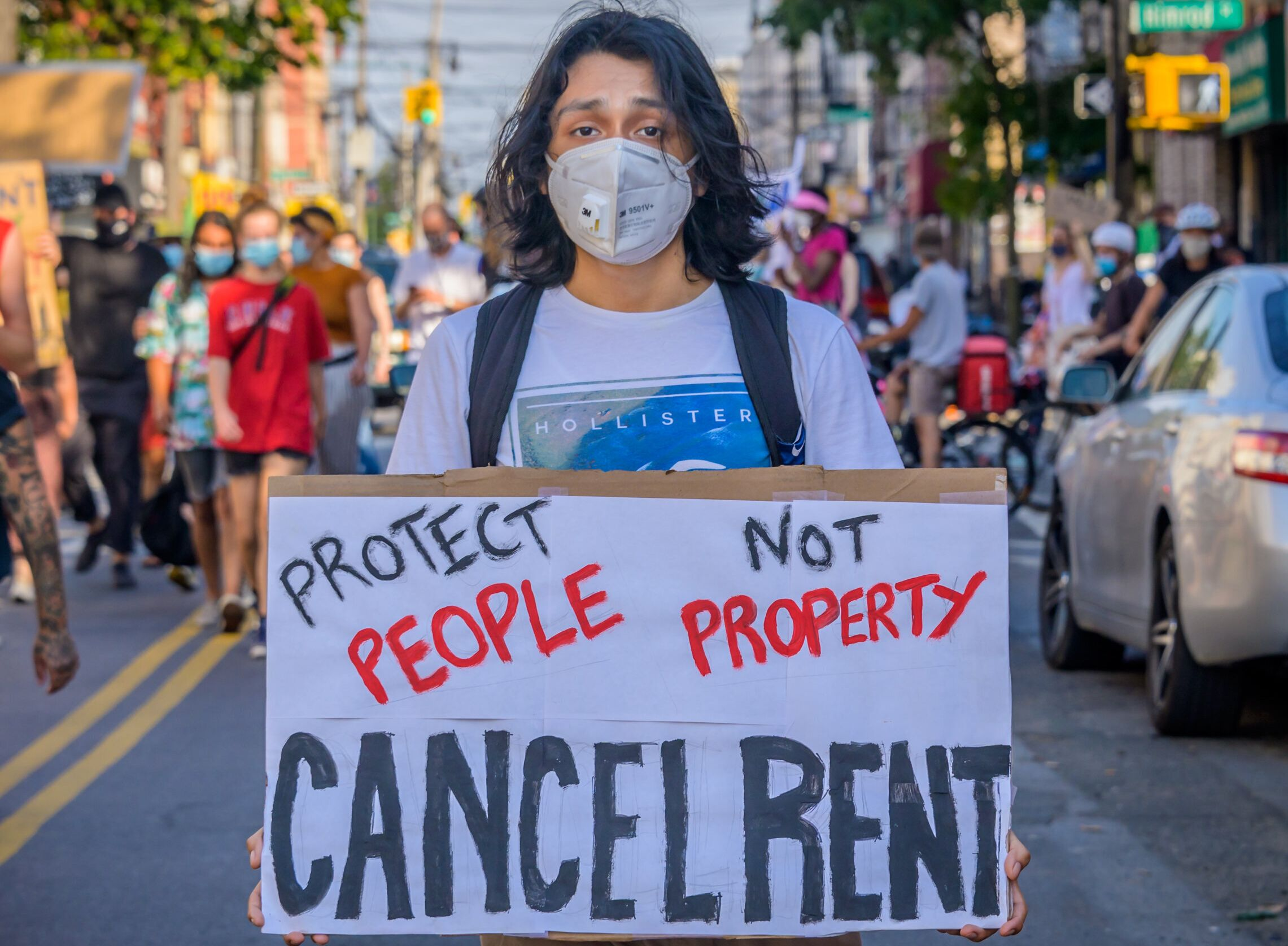 Tenants and housing activists gather for a rally and march in Brooklyn's Bushwick neighborhood, demanding that city administrators cancel rent immediately as the financial situation for many New Yorkers remains dire amid the coronavirus pandemic.
