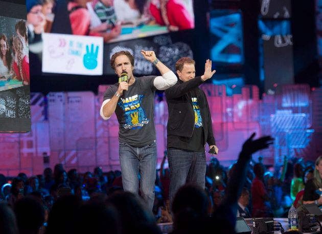 Craig Kielburger and Marc Kielburger speak during
