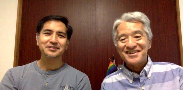 オンラインインタビューに応じる、伊藤悟さん(右)と簗瀬竜太さん。