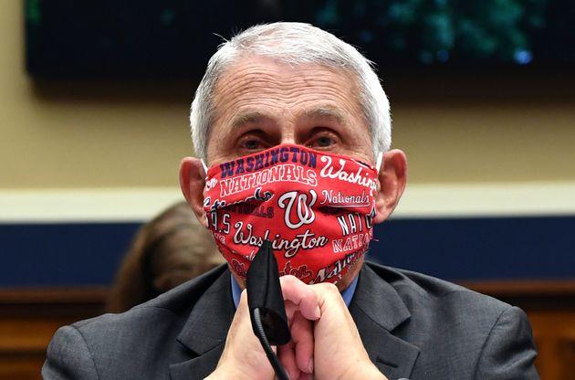 현안질의를 위해 하원에 출석한 앤서니 파우치 박사가 '워싱턴 내셔널스' 마스크를 쓰고 있는 모습. 2020년