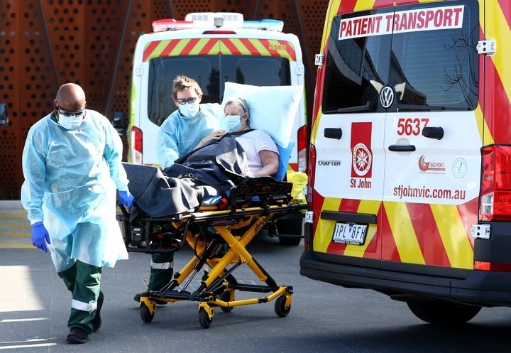 A resident is taken from the Epping Hardens Aged Care Home on July 29, 2020 in Melbourne, Australia.