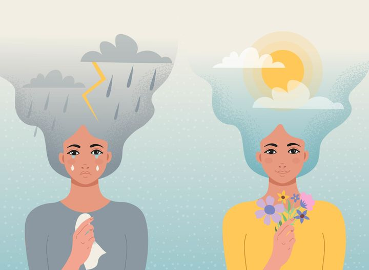 Concept good and bad mood. One girl cries with clouds, lightning, rain in her hair and a handkerchief  in her hands, another girl smiles with clouds and sun in her hair and flowers in hand.Vector