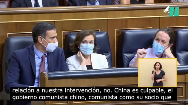 Pedro Sánchez, Carmen Calvo y Pablo Iglesias, este miércoles en el