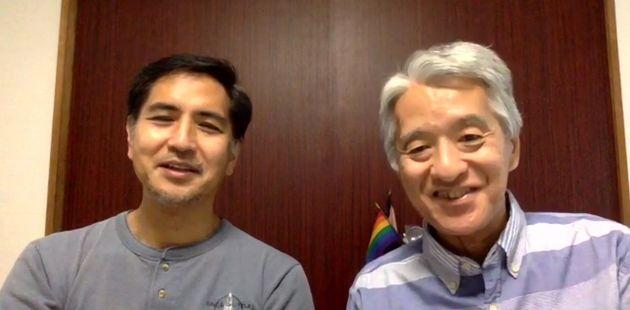 オンライン取材に応じる、伊藤悟さん(右)と簗瀬竜太さん。