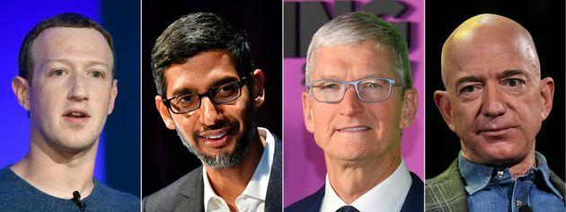 De izquierda a derecha, Mark Zuckerberg (Facebook), Sundar Pichai (Google), Tim Cook (Apple) y Jeff Bezos