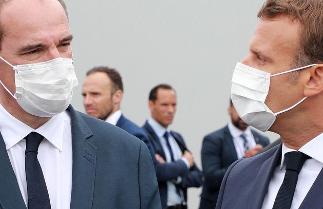 Le Président Emmanuel Macron et le Premier ministre Jean Castex lors de la cérémonie militaire annuelle...